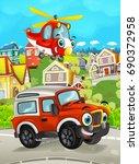 cartoon funny looking off road... | Shutterstock . vector #690372958