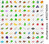 100 fauna icons set in... | Shutterstock .eps vector #690374044
