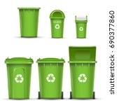 green recycling bin bucket...   Shutterstock .eps vector #690377860