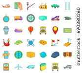 slow delivery icons set....   Shutterstock .eps vector #690380260