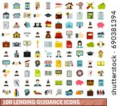 100 lending guidance icons set... | Shutterstock .eps vector #690381394
