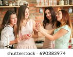 party with group of beautiful... | Shutterstock . vector #690383974