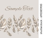 feather pattern. vintage card.... | Shutterstock .eps vector #690385900