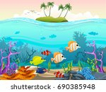 illustration of fish and coral... | Shutterstock .eps vector #690385948