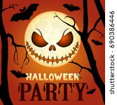 scary halloween party... | Shutterstock .eps vector #690386446