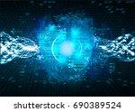 future technology  blue cyber... | Shutterstock .eps vector #690389524