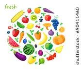 set of vegetarian food . vector ... | Shutterstock .eps vector #690411460