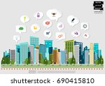 building in the city    modern... | Shutterstock .eps vector #690415810
