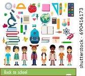 set of characters and school...   Shutterstock .eps vector #690416173