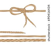 set a bow of twine and twisted... | Shutterstock .eps vector #690416434