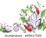 food background  herbs and... | Shutterstock . vector #690417550