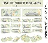 100 dollars banknote vector....   Shutterstock .eps vector #690423124