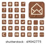 dark wooden icon set with... | Shutterstock .eps vector #69042775