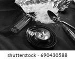 heroin   black and white ... | Shutterstock . vector #690430588