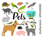 large set of pets | Shutterstock .eps vector #690440080