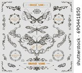 set of vintage decorations... | Shutterstock .eps vector #690441850