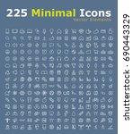 set of 225 minimal modern black ... | Shutterstock .eps vector #690443329