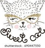 sweet cat. illustration. vector ... | Shutterstock .eps vector #690447550