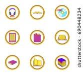 online book icons set. cartoon...