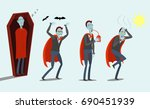 cartoon vampires  sleeps in the ... | Shutterstock .eps vector #690451939