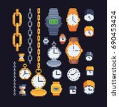 clocks and watches icons set ... | Shutterstock .eps vector #690453424