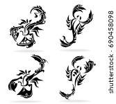 scorpion set  on white... | Shutterstock .eps vector #690458098