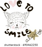 love to smile  typography... | Shutterstock .eps vector #690462250