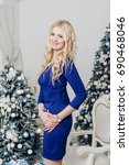 blond girl in blue dress on new ... | Shutterstock . vector #690468046