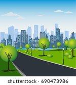 green park in urban city.... | Shutterstock . vector #690473986