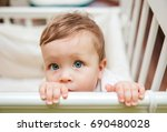small cute baby girl with big... | Shutterstock . vector #690480028