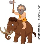 caveman riding a mammoth | Shutterstock .eps vector #690482734
