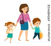 mom holds her children's hand... | Shutterstock .eps vector #690489418