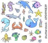 set of cute ocean animals on... | Shutterstock .eps vector #690494839