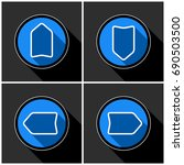 four white  blue arrows with... | Shutterstock .eps vector #690503500