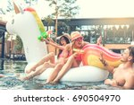 group of friends together in...   Shutterstock . vector #690504970