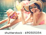 young women friends in the... | Shutterstock . vector #690505354