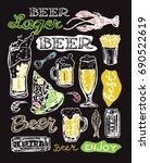 hand drawn doodle beer set. | Shutterstock .eps vector #690522619