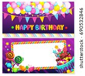 happy birthday postcard. vector ... | Shutterstock .eps vector #690532846