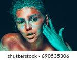 body art woman pink face beauty ... | Shutterstock . vector #690535306