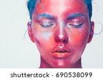 body art woman face portrait ... | Shutterstock . vector #690538099