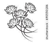 four lotus flowers in black... | Shutterstock .eps vector #690550186