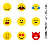 flat icon face set of love ... | Shutterstock .eps vector #690552430