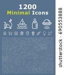 set of 1200 minimal white icons ... | Shutterstock .eps vector #690553888