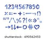 hand drawn watercolor numbers... | Shutterstock . vector #690562453