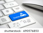 travel vacation concept on blue ...   Shutterstock . vector #690576853
