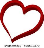 3d red heart valentine love logo | Shutterstock .eps vector #690583870