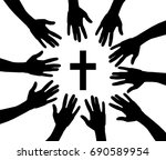 vector illustration of praying... | Shutterstock .eps vector #690589954