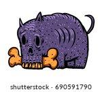 Cartoon Zombie Dog With A Bone...