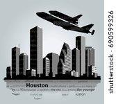 houston city silhouette  vector ... | Shutterstock .eps vector #690599326
