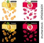 set label icon of fruits on...   Shutterstock .eps vector #690606604